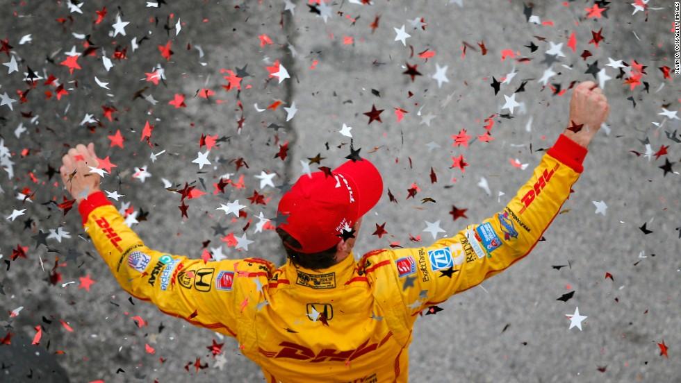 IndyCar driver Ryan Hunter-Reay celebrates after winning the Grand Prix of Alabama on Sunday, April 27, in Birmingham, Alabama.