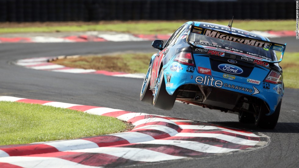 Mark Winterbottom cuts a corner during the ITM 500 Auckland, the fourth event of the V8 Supercars Championship that was held April 25-27 in Pukekohe, New Zealand.