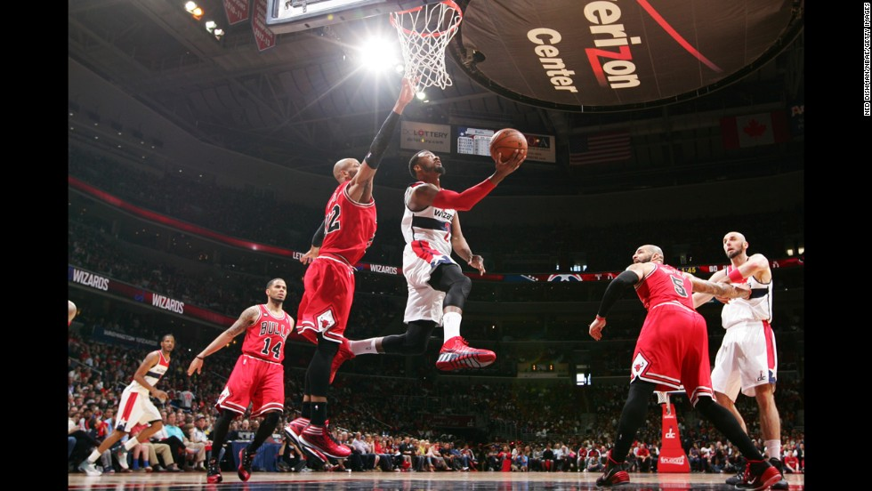 John Wall of the Washington Wizards rises for a layup on Sunday, April 27, during Game 4 of the NBA playoff series versus the Chicago Bulls. The Wizards won the game to take a 3-1 lead in the best-of-seven series.