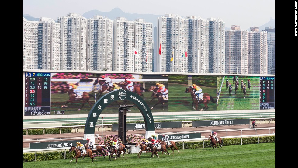 Horses are raced at the Audemars Piguet Sprint Cup, which was held Sunday, April 27, at the Sha Tin racecourse in Hong Kong. Douglas Whyte won the race aboard Charles the Great.