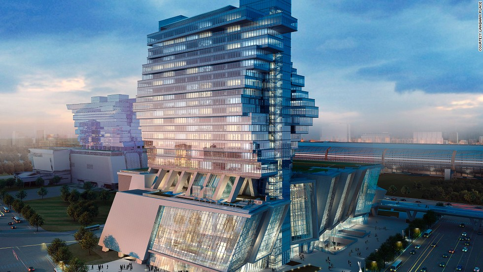 """<strong>Langham Place, Guangzhou</strong><br /><strong>Architect:</strong> Andrew Bromberg of Aedas International Ltd.<br /><strong>Status: </strong>Opened in 2013<strong><br />Rooms: </strong>500 <br /><strong>Fast fact: </strong>Langham Place's exterior is designed to resemble unfolding wings in action, """"evoking a sense of freedom and space,"""" according to a hotel spokesperson. It also has the city's biggest ballroom.<br /><em>Langham Place Guangzhou, 638 Xingang East Road, Haizhu District, Guangzhou; +86 20 8916 3388</em>"""