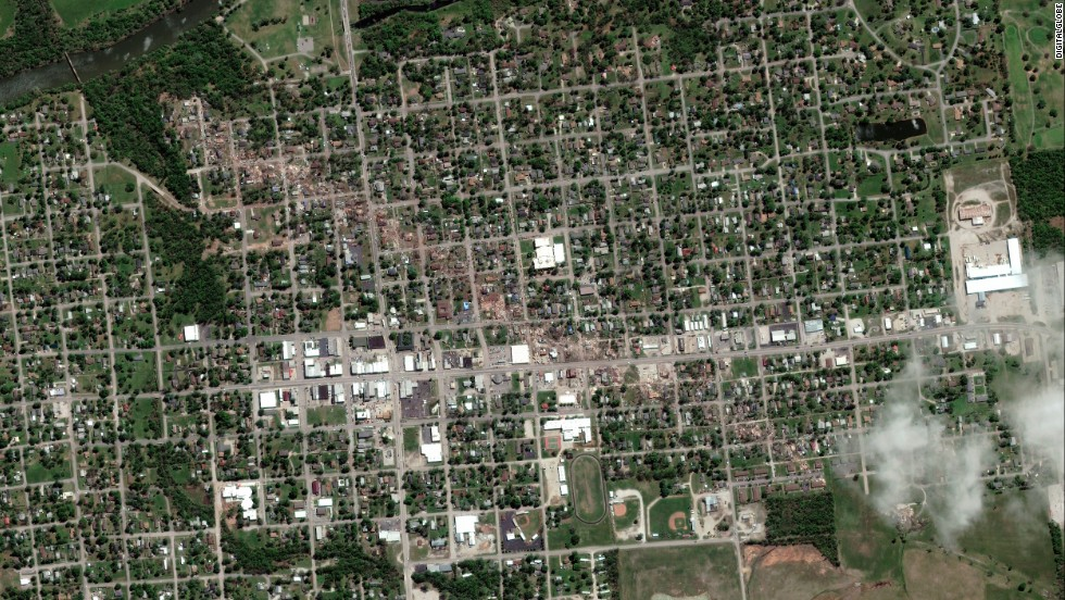 "A satellite view of Baxter Springs, Kansas, is seen on Monday, April 28, after a tornado ripped through the town. <a href=""http://www.cnn.com/2014/04/29/us/gallery/tornado-before-after/index.html"">See before and after photos</a>"