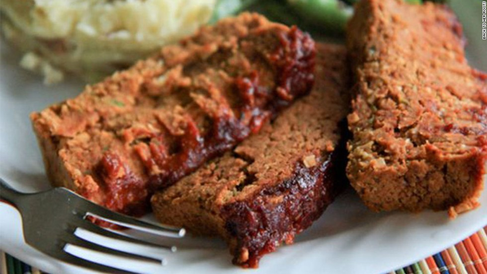 This vegan two-bean meatloaf features pinto beans, chickpeas and sunflower kernels, topped with a molasses glaze.