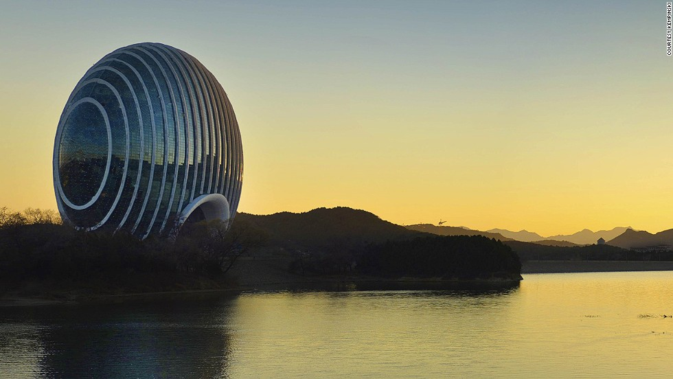 The Sunrise Kempinski Hotel on Beijing's Yanqi Lake has a private marina and is lit up by hydroelectric-powered LED lights.