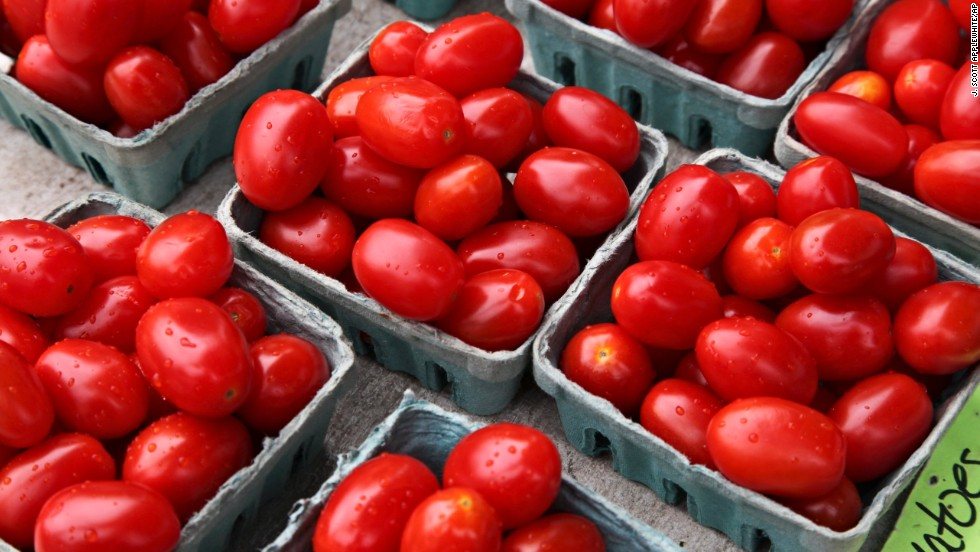 Cherry tomatoes moved up from No. 11 to No. 10 on the 2014 list.