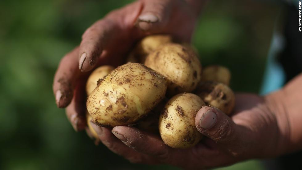 Potatoes dropped from No. 10 to No. 12 in 2014. The average potato had more pesticides by weight than any other food, according to the Environmental Working Group.