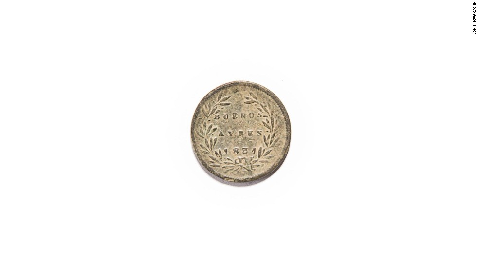 This 1831 half-real from Argentina was likely used as currency in the camp, just like all coins, as well as grocery tokens and buttons. Foreign coins were traded among prisoners. Many regiments featured new immigrants who had recently arrived in the United States and joined the Union army. The coin is among artifacts on display at the Georgia Southern Museum. Brent Tharp, head of the museum, says students helped prepare the exhibit.