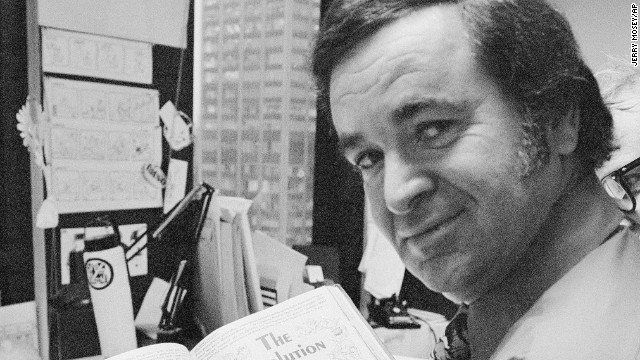 """""""Mad"""" magazine editor Al Feldstein works on page layout in his office at the magazine's New York headquarters in 1972."""