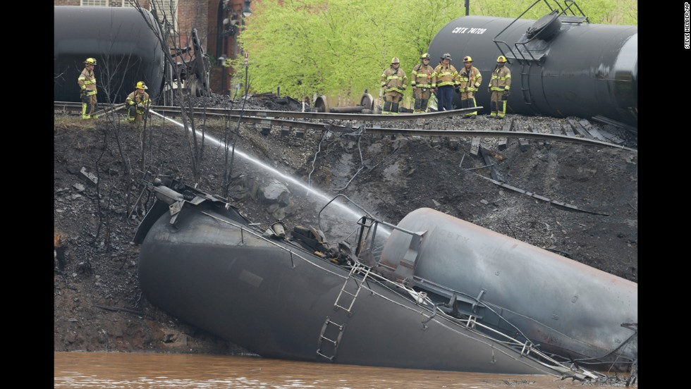 Police said 13 or 14 tanker cars were involved in the derailment.