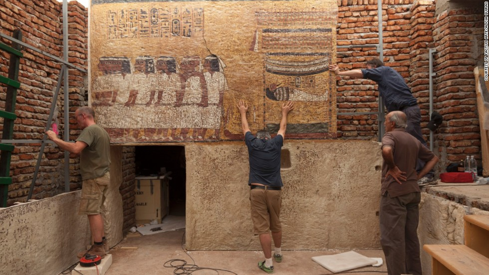 Laser scanners were used to map the walls in 3-D. The re-created panels were covered with a skin printed with photographic reproductions of the originals.