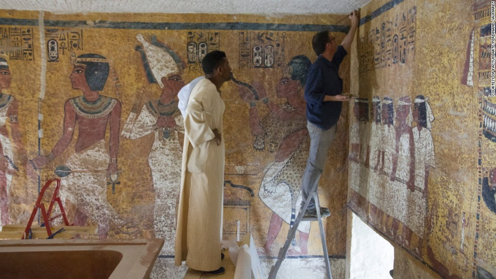 The panels depict the young pharaoh's voyage to the afterlife following his death in 1327 B.C.