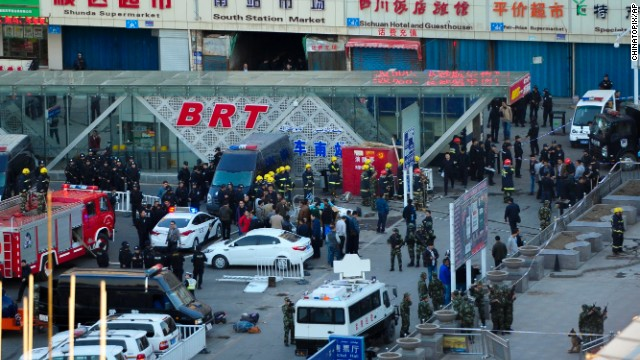 The scene after an explosion outside the Urumqi South Railway Station on April 30, 2014.