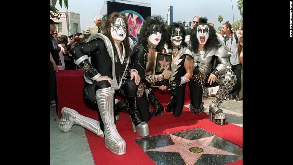 KISS received a star on the Hollywood Walk of Fame in 1999. The four original members, who had reunited in 1996, were on hand for the unveiling.