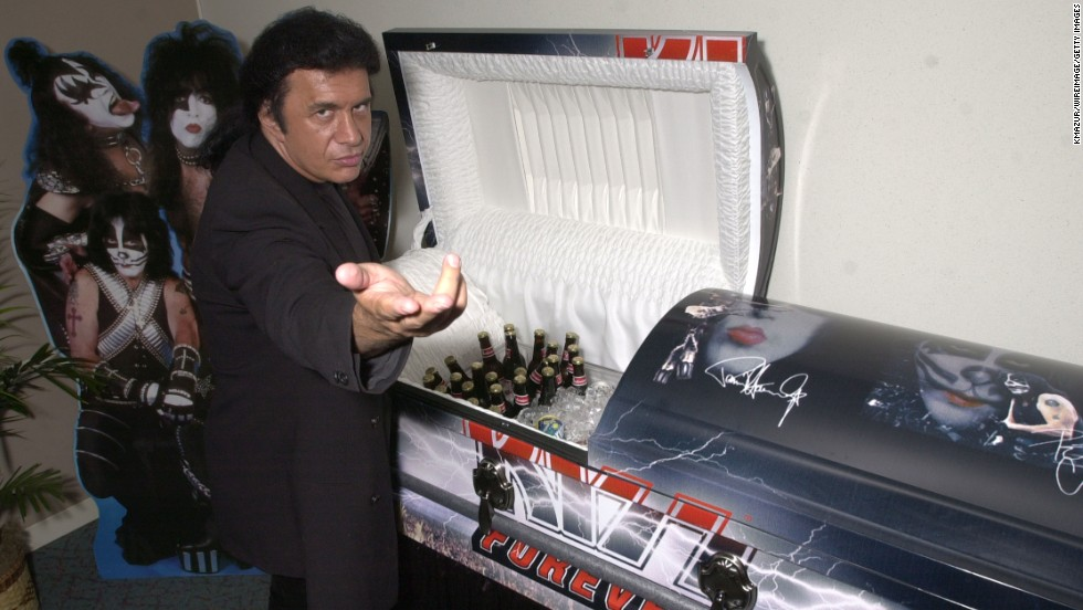"The band, especially Simmons, has shrewdly marketed KISS' image and logo, placing it on everything from action figures to, well, caskets. The <a href=""http://money.cnn.com/gallery/news/companies/2014/02/18/kiss-band-marketing.fortune/11.html"">KISS Kasket</a> sells for $5,000, comes in two designs and is wildly popular among fans. Would you rather be cremated? Don't worry, there's a KISS urn as well."