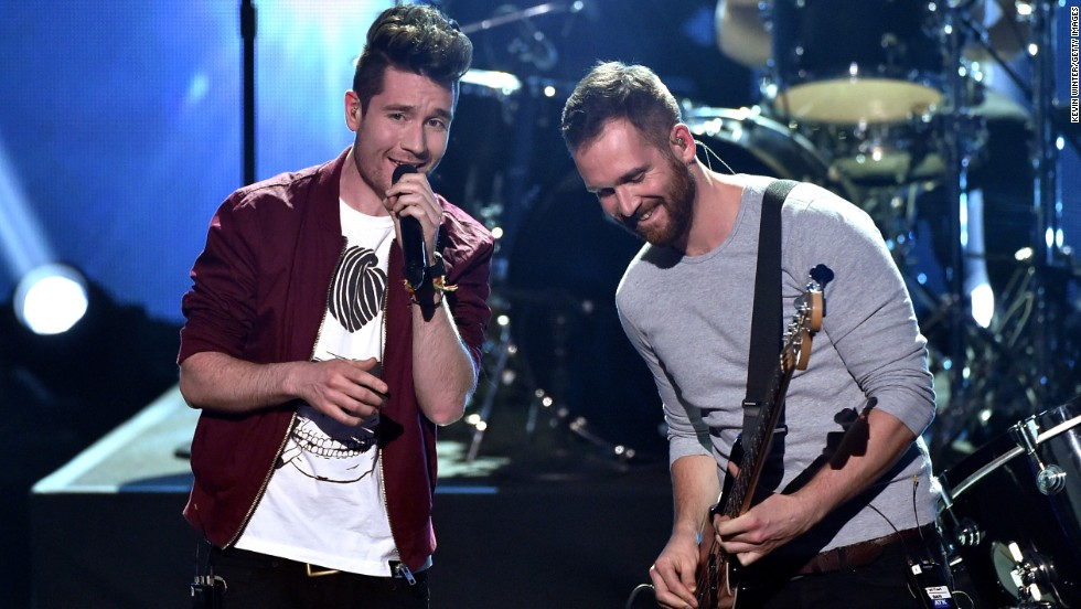 Musicians Dan Smith, left, and Will Farquarson of Bastille perform.