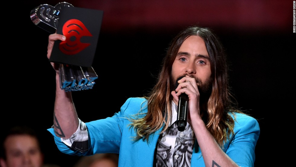 Actor/musician Jared Leto accepts the best new artist award on behalf of singer/songwriter Lorde (not pictured) onstage.