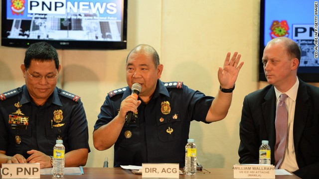 Philippine police chief answers questions from the media at the police headquarters in Manila on May 2, 2014.