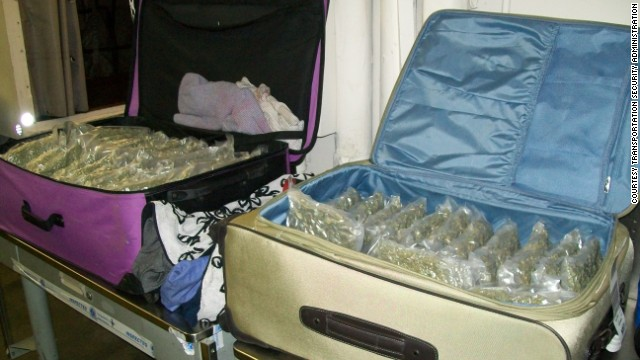A female passenger tried to travel on Friday with three checked bags filled with marijuana.