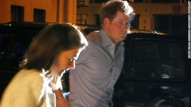 Britain's Prince Harry steps out of a vehicle to eat at Rendezvou in downtown Memphis, on May 1.