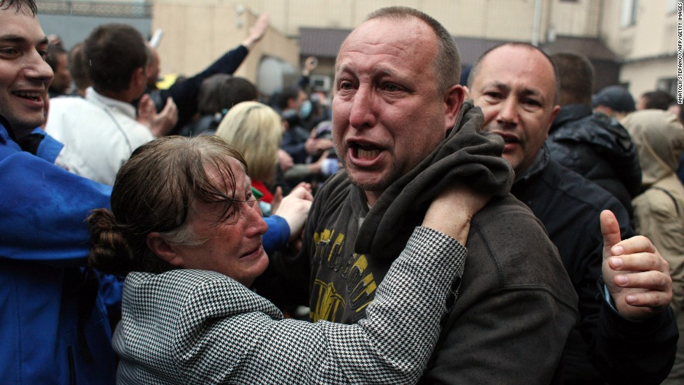 A pro-Russian militant reacts after being freed on May 4 in Odessa.