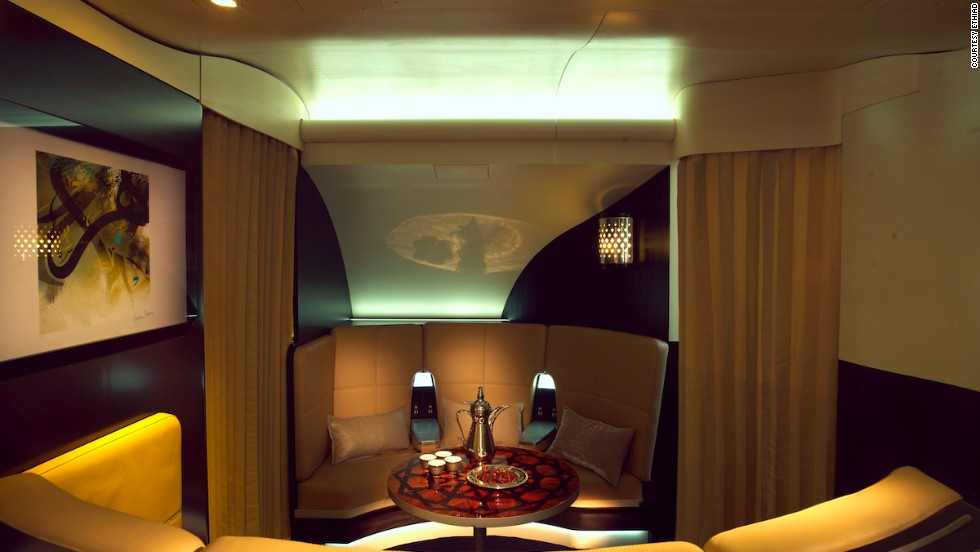 On the Airbus A380, first- and business-class fliers can chat with their moneyed counterparts in The Lobby, a serviced lounge located between the first and business cabins.
