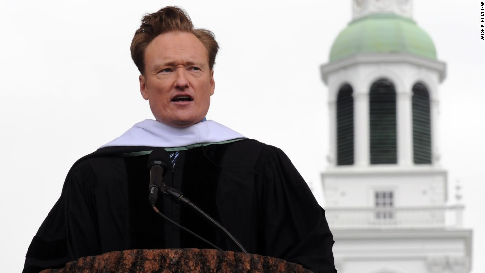 "Conan O'Brien delivered the commencement address at Dartmouth College on June 12, 2011. O'Brien, who studied English and history,<a href=""https://www.dartmouth.edu/~commence/news/speeches/2011/obrien-speech.html"" target=""_blank""> told the students</a>, ""Your path at 22 will not necessarily be your path at 32 or 42. One's dream is constantly evolving, rising and falling, changing course.""<br />"