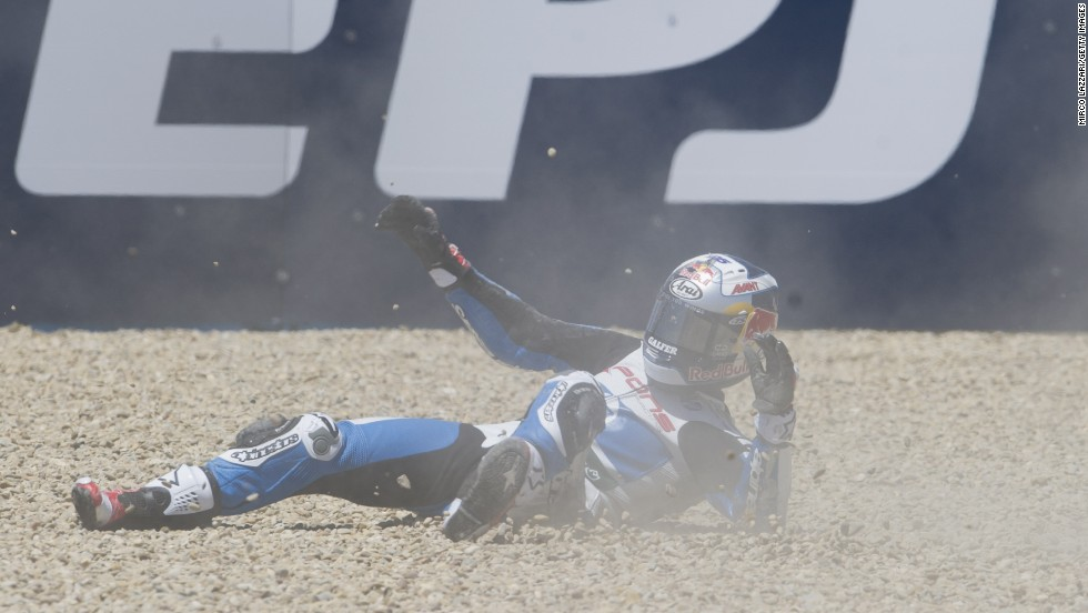 MotoGP competitor Maverick Vinales crashes out during practice at the Spanish Grand Prix on Friday, May 2. The race was won two days later by Marc Marquez, who has won the first four MotoGP events this season.