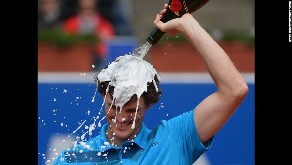 Tennis player Jamie Murray celebrates after winning the men's doubles final with John Peers at the BMW Open in Munich, Germany, on Sunday, May 4.