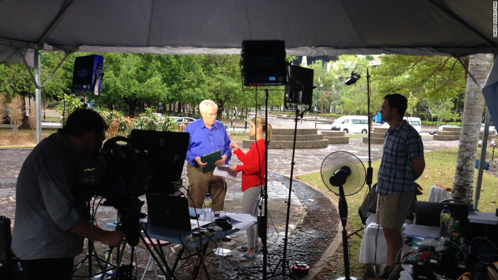 Day 11 -- CNN's Kate Bolduan interviews Jim Clancy on New Day at CNN's outdoor live location in Kuala Lumpur.<br />