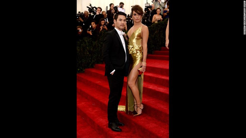 Designer Joseph Altuzarra and Lea Michele