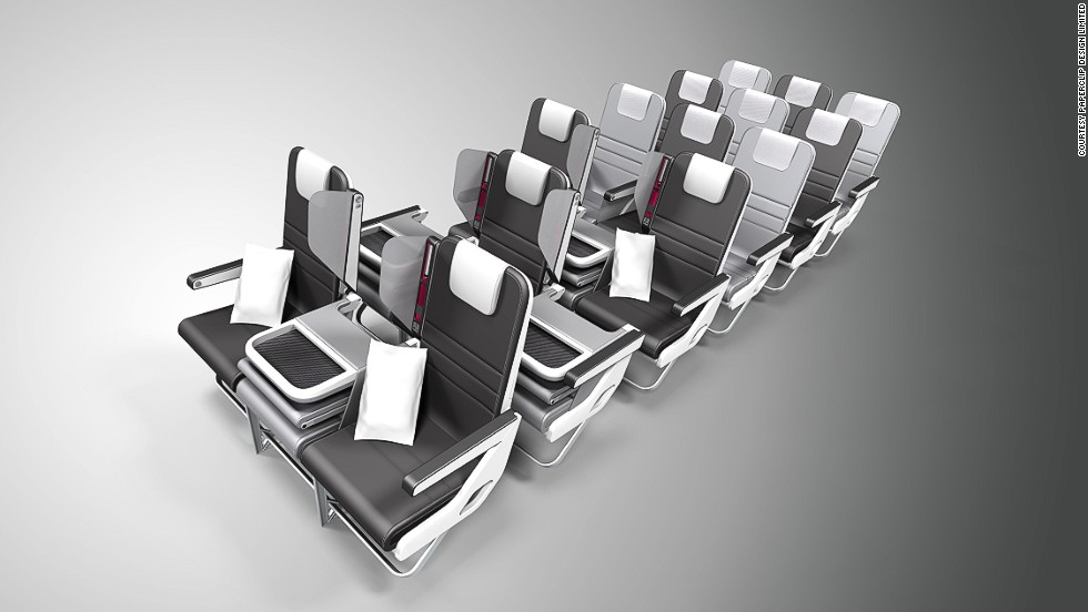 Paperclip Design won a Crystal Cabin Award last year as well for their Checkerboard Convertible seating, which allows airlines to configure seats for both economy and business class (the middle seat can fold down).
