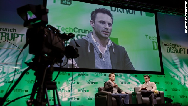Brendan Iribe, CEO of Oculus VR Inc., left, speaks during the TechCrunch Disrupt NYC 2014 conference on Monday, May 5.