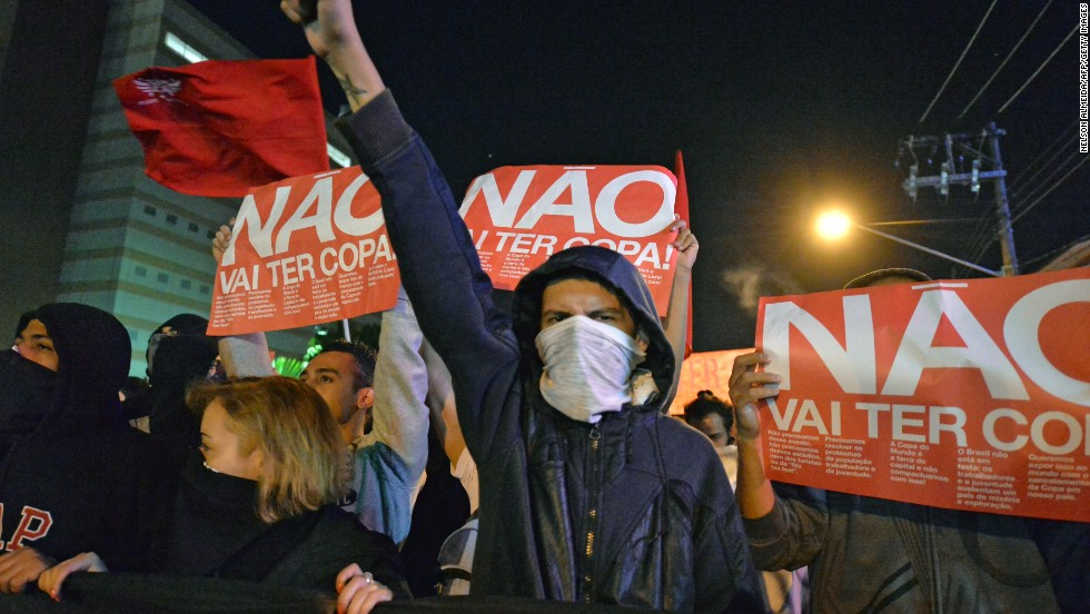 In April, demonstrators hit the streets in Sao Paulo to protest against Brazil's hosting of the 2014 World Cup, which begins on June 12.<br />