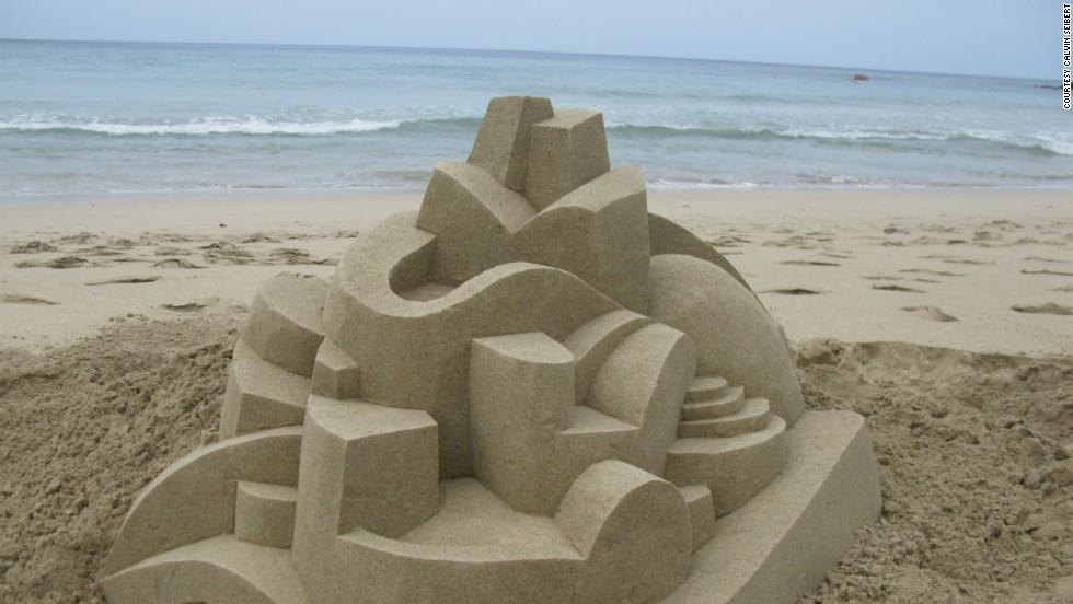 Calvin Seibert creates handmade sand castles. Except they're not really sand castles.