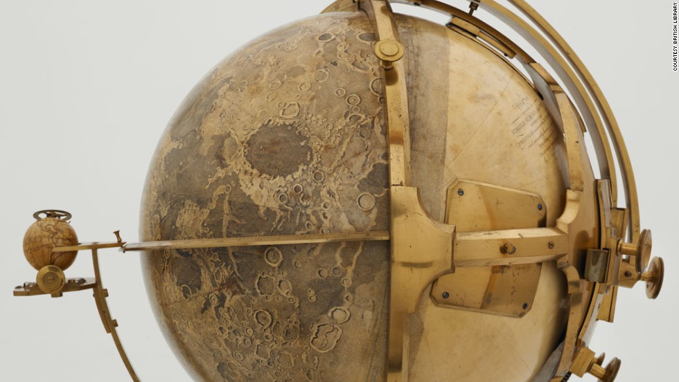This ridiculously awesome moon globe was made by the artist John Russell in 1797.