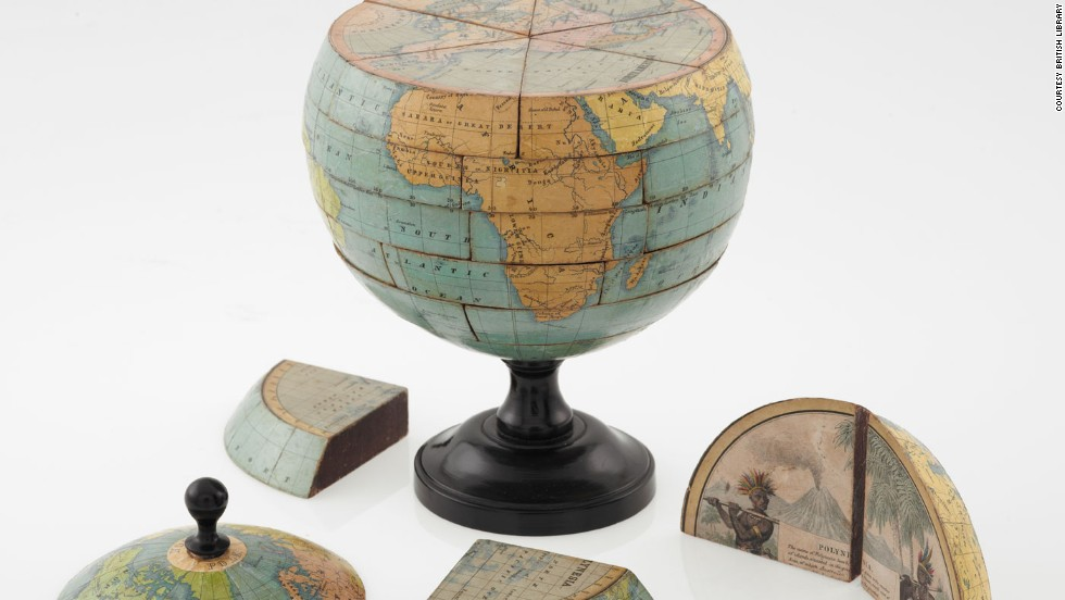 "This ""dissected globe"" dates to around 1866. At the time such items were a popular toy for children."