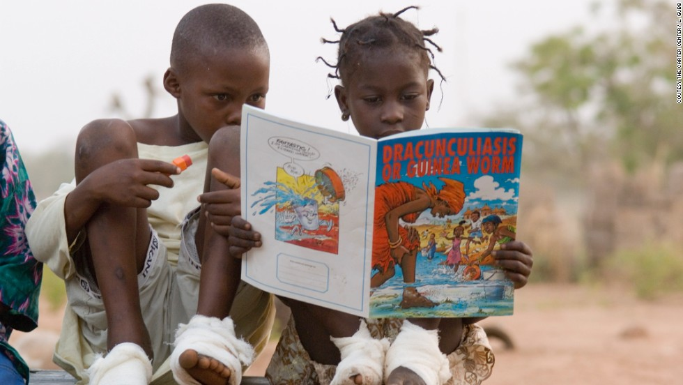 Guinea worm disease infected millions of people just 30 years ago. Now it is close to eradication.<br />The Carter Center has led efforts to fight the disease, helping educate people on how to avoid spreading the worm.