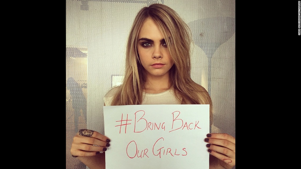 "British supermodel Cara Delevingne posted this photo on her <a href=""http://instagram.com/p/nvWQAHjKOW/"" target=""_blank"">Instagram account</a> saying, ""Everyone help and raise awareness #regram #repost or make your own!"""