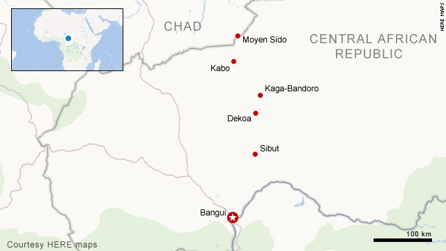 Map: Refugee convoy journey in CAR
