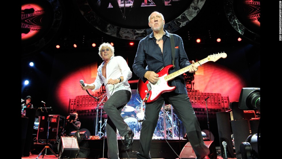 "The Who started in 1964, and blasted into the charts with their anthem ""My Generation."" According to The Rock and Roll Hall of Fame, the band ""didn't just play rock and roll, they attacked their music and their instruments with raw power fueled by teenage rage."" In the late 60s and early 70s they released conceptual albums ""Tommy"" and ""Quadrophenia"" before being inducted into the Hall of Fame in 1990. Here,  Roger Daltrey and Pete Townshend  perform at the 02 Arena on June 15, 2013 in London, England."