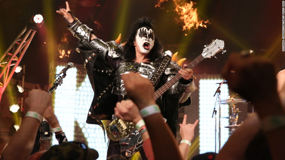 For 40 years, KISS has been enthralling fans with its hard-rock sound, over-the-top look and pyrotechnic shows. The band's chart success was based on constant and energetic touring -- concerts that were then turned into some best-selling live albums. The band was inducted into the Rock and Roll Hall of Fame in 2013. Here, Gene Simmons performs on April 11, 2014.