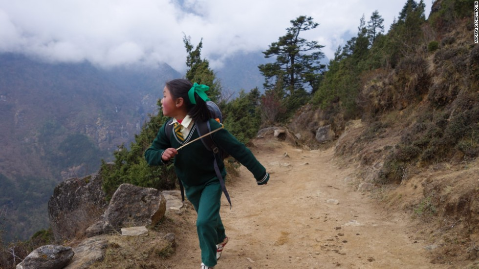 The Sherpas consider education the most important opportunity they have to live a better life. Every day, third-grader Nimga Sherpa walks down the valley from her village to attend classes at a school in Namche Baazar, one hour away.