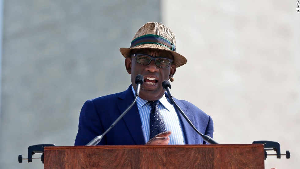 "Master of ceremonies Al Roker, of NBC's ""Today Show,"" speaks during the ceremony to celebrate the monument's reopening."