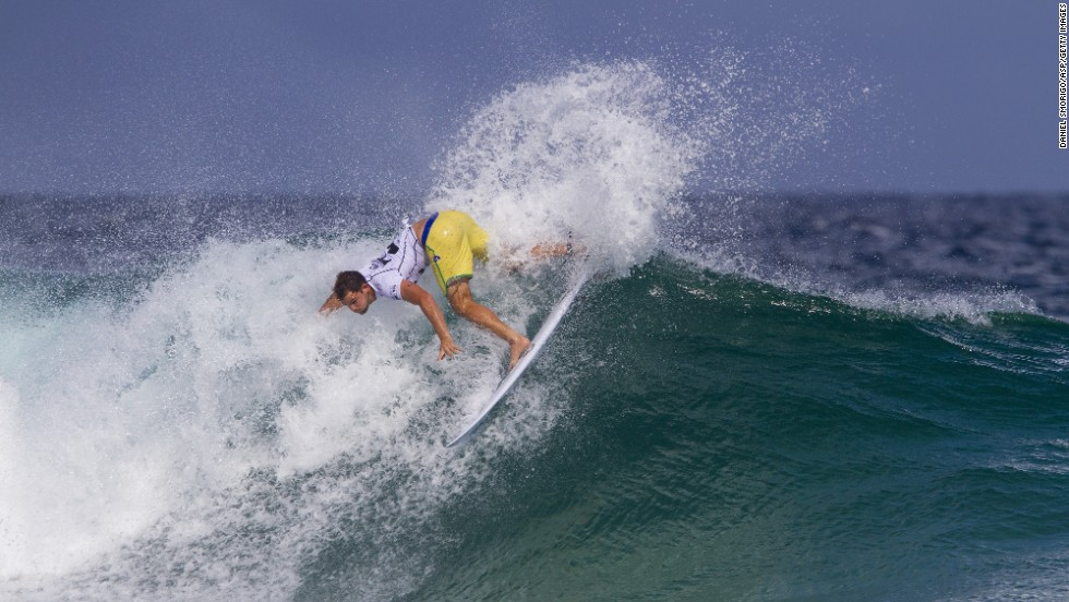 Brazilian surfer Alejo Muniz competes in the Billabong Rio Pro on Saturday, May 10, in Rio de Janeiro, Brazil.