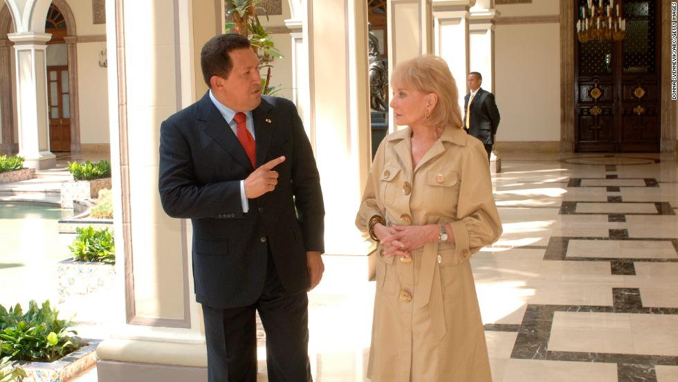 "In an exclusive interview on ""20/20,"" Walters sat down with controversial Venezuelan President Hugo Chavez on March 14, 2007. In an <a href=""http://piersmorgan.blogs.cnn.com/2013/03/05/barbara-walters-remembers-late-venezuelan-president-hugo-chavez-he-certainly-wasnt-the-most-physically-attractive-person/"">2013 interview with CNN's Piers Morgan,</a> Walters noted that despite Chavez's immense power and influence, the President tried to portray himself as a martyr: ""He could be very warm. He was very vulnerable, complained that he'd been married twice, Piers, but had no time for a relationship because he was married to his country."""