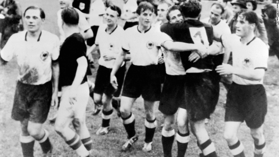 West Germany's 3-2 victory over Hungary in the 1954 World Cup final is known as 'the Miracle of Bern.'  The Hungarian side, which had gone 32 games unbeaten and had won gold at the Olympics two years earlier, led 2-0 after just eight minutes. But the Germans fought back, scoring twice before the interval to level the game. It was then left to Helmut Rahn to net the winner late on.<br /><br />