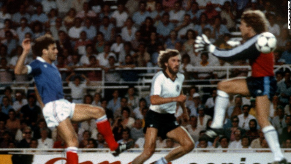 The 1982 semifinal between West Germany and France is remembered for stomach-turning scenes when German keeper Harald Schumacher (R) came out of his goal, ignored the ball and body slammed Patrick Battiston (L), who left the field on a stretcher.