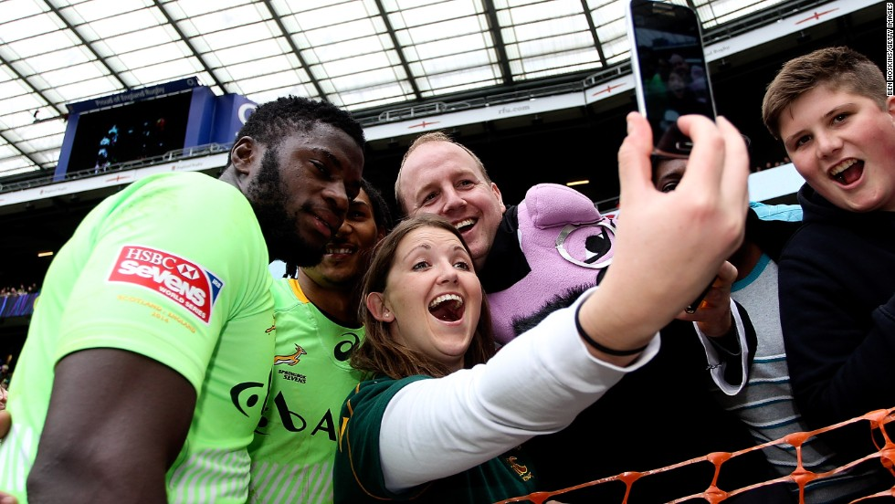 Jamba Ulengo celebrates with fans as his South Africa side took second place in the Series.