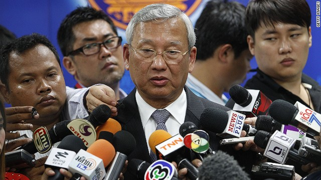 BANGKOK, THAILAND - MAY 07: Acting caretaker Thai Prime Minister, Niwattumrong Boonsongpaisan, talks with the press after Yingluck Shinawatra leaves the Defence Permanent Secretary Office on May 7, 2014 in Bangkok, Thailand. Thai Constitutional Court has ruled that Thai Prime Minister, Yingluck Shinawatra, and 9 cabinet ministers to step down. The charges relate to complaints filed by senators which suggested that Yingluck's party improperly transferred her security chief in 2011. (Photo by Borja Sanchez-Trillo/Getty Images)