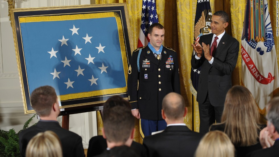 President Obama applauds after presenting the Medal of Honor to Army Staff Sgt. Salvatore Giunta on November 16, 2010. Cited for his actions in the Korengal Valley, Afghanistan, in October 2007, Guinta was the first living recipient of the Medal of Honor since the Vietnam War.